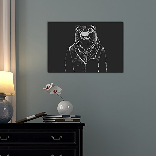 Wall26 Suits Canvas Wall Art - Hipster Animal in Business Suit - Gallery Wrap Modern Home Decor | Ready to Hang - 12x18 inches
