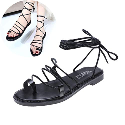 (Clearance! Swiusd Womens Retro Gladiator Lace Up Roman Sandals Comfy Flat Bottom Tie Up Clip Toe Slingback Beach Dress Sandals (Black, 6.5))