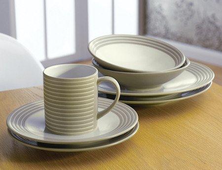 Denby Intro Stripes 16 Piece Tableware Set - Sand: Amazon.co.uk ...