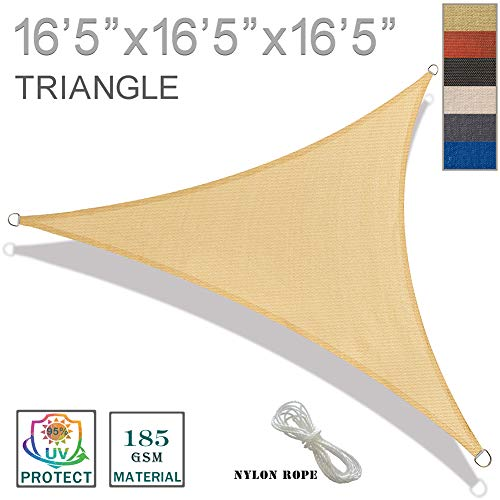 SUNNY GUARD 16'5'' x 16'5'' x 16'5'' Sand Triangle Sun Shade Sail UV Block for Outdoor Patio Garden