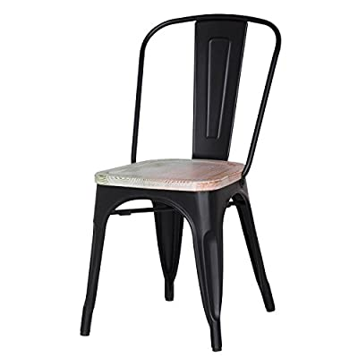 Adeco Metal Stackable Industrial Chic Dining Bistro Cafe Side Chairs, Wooden Seat, Black (Set of 2) - Material: Steel frame in satin Finish Overall dimensions: 17.5W*20.5 d*33.7 H, Seat Height:17.5, Seat wide:14, Seat deep:14 A perfect touch of Vintage industrial modern look to your dining room or breakfast counter, patio, play room, restaurant - kitchen-dining-room-furniture, kitchen-dining-room, kitchen-dining-room-chairs - 41G8Z3dAZXL. SS400  -