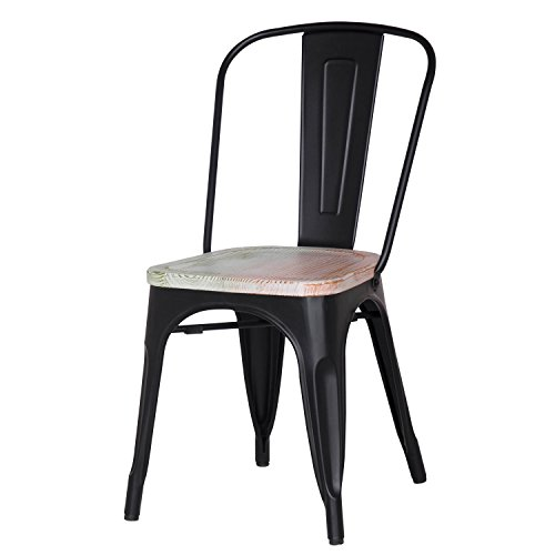 Adeco Metal Stackable Industrial Chic Dining Bistro Cafe Side Chairs, Wooden Seat, Black (Set of 2)