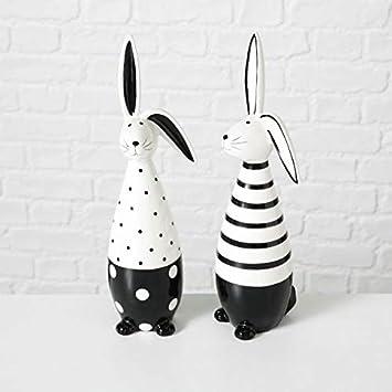Osterdeko Black White Hasenpaar Gross Osterhase Osterei Schwarz Weiss Porzellan Modern Ausgefallen Ostern Dekoration Tischdeko Hase Eier Deko