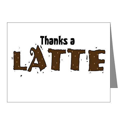 CafePress  Thanks A Latte Note Cards Pk Of 20  Blank Note Cards Pack of 20 Glossy