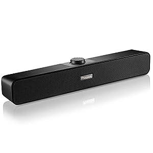 PCスピーカー、PHISSION ステレオ 2.0 サウンドバー 高音質 大音量 小型 USB電源 AUX接続