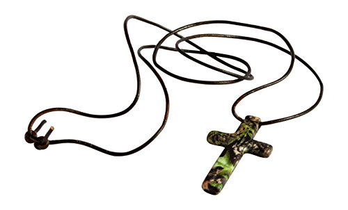 Mossy Oak Cross Hunters Camo Pendant Necklace, US Steel & Leather, 31