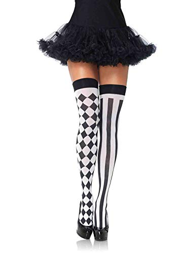 Harley Quinn Costume Ideas - Leg Avenue Women's Thigh Highs, black/White,