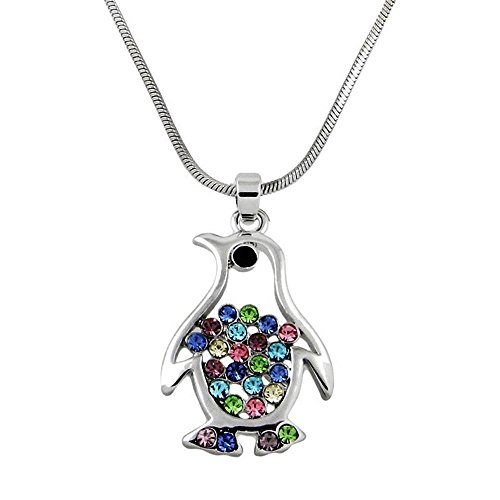 er Tone Crystal Penguin Pendant Necklace Multicolor Crystals Gift Boxed Fashion Jewelry ()