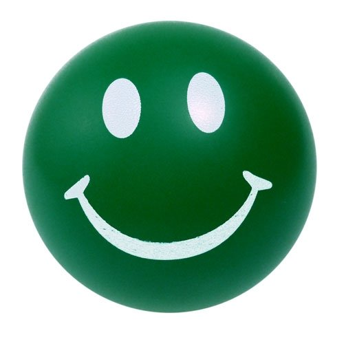 Happy Smile Face Stress Ball - Green
