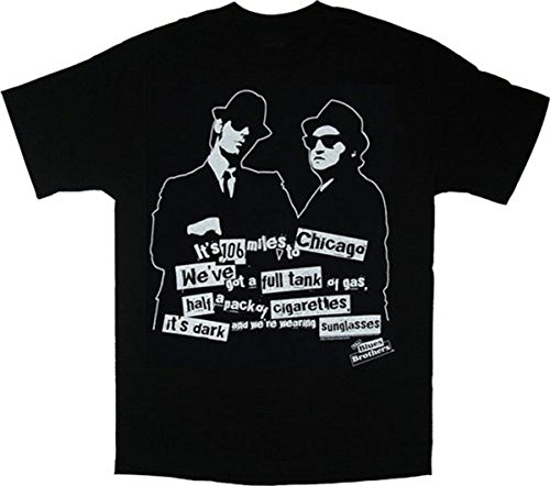Blues Brothers 106 Miles to Chicago Black T-Shirt Tee, - Brothers 106 Miles Blues