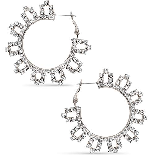 (Humble Chic Rhinestone Hoop Earrings - Extra Large Simulated Diamond Flower CZ Crystal Statement Loops, Silver-Tone Flower - 2 inch, Medium, Hypoallergenic)