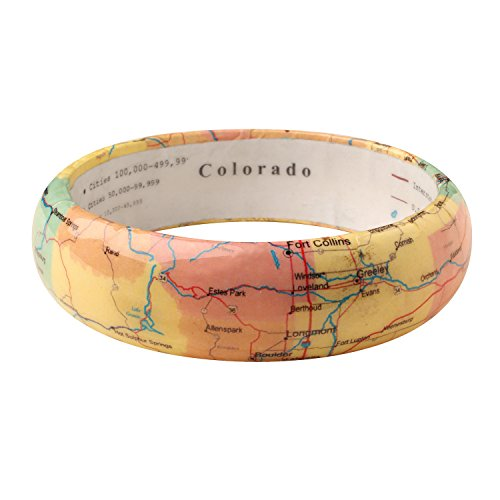 FLORIANA Women's State Map Bangle Bracelet - Clear Resin over Paper Map - Colorado by FLORIANA (Image #1)