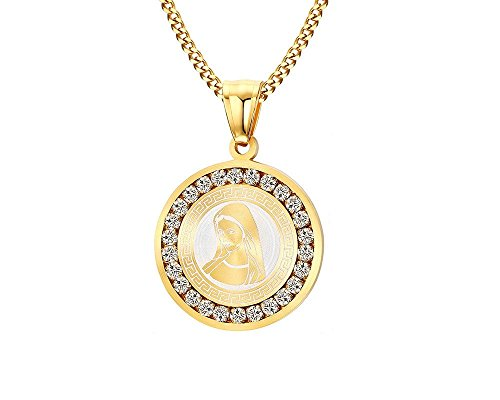 EuroLux Virgen Maria Cadena de Titanium Chapada en Oro De Mujer/Hombre Unisex Necklace Pendant CA0023