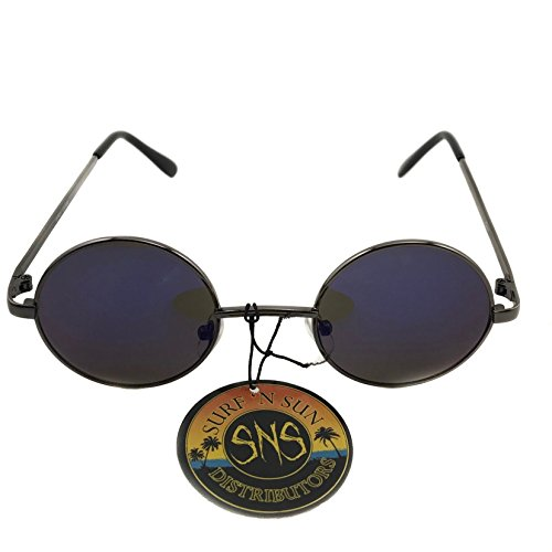 Surf'N Sun Distributors John Lennon Styled Sunglasses / 100% UVA/UVB Protection (Silver Frame with Black Temple, Dark Blue - Distributor Sunglass