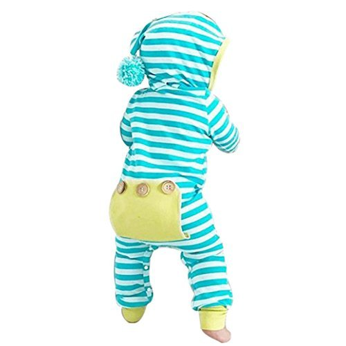 Baby Boys Girls Cotton Romper Bodysuit Jumpsuit Outfits Clothing Set (Blue) - 9