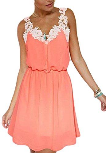 Dresses Floral Orange Chiffon Lace Women Jaycargogo Summer Cami Mini xTqv0xpEw