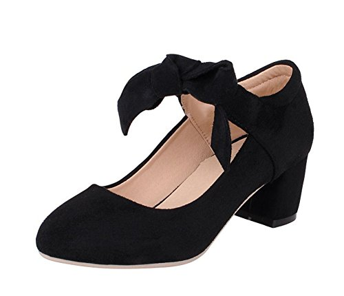 Aisun Women's Lady Bow Elastic Mid Chunky Heels Mary Jane Shoes Pumps Court Shoes Black