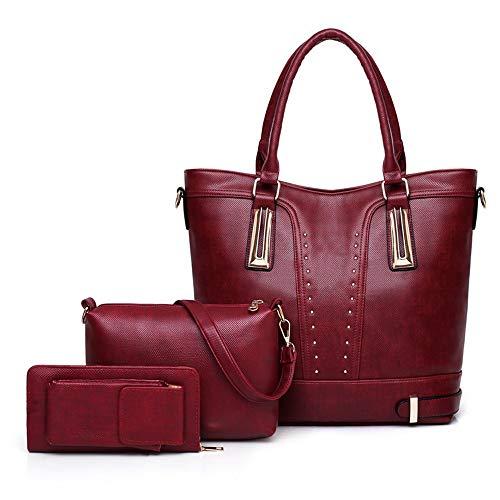 main le tout un à 3pcs Rouge véritable Zhiwenshangmao travail cuir avec quotidien pour réglable femme Sac sac pour fourre en xgCwp