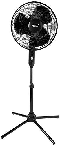 "Comfort Zone CZST161BTEBK Oscillating Quad Pod Pedestrial Fan, 16"", Black"