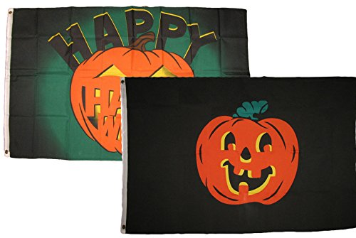 ALBATROS 3 ft x 5 ft Happy Halloween 2 Pack Flag Set Combo #46 Banner Grommets for Home and Parades, Official Party, All Weather Indoors Outdoors -