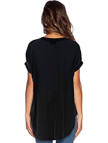 Soie Femmes T Et Noir de Chemise Tops Uni Hauts Elgant Col Sexy Shirts Mousseline Manche Casual LAEMILIA V Shirt Blouse Courte FZf455qw