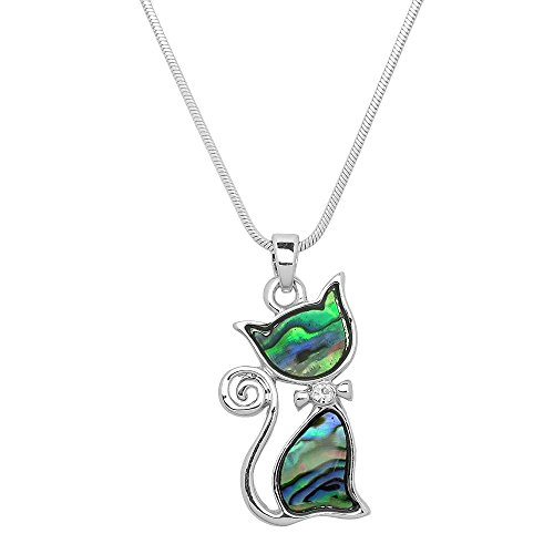 Liavy's Cat Charm Pendant Fashionable Necklace - Abalone Paua Shell - Sparkling Crystal - 17