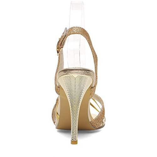 Buckle Sequins Gold Open Stilettos Solid WeenFashion Sandals Toe Heeled Women's Spikes E5qUUR