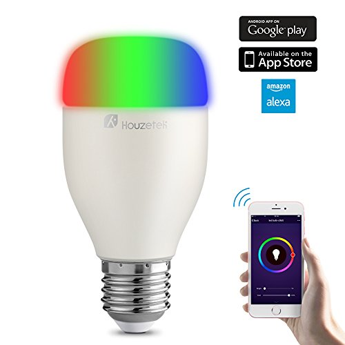 Smart LED Light Bulb, Houzetek Alexa Night Light, WiFi Multicolored LED Bulbs, Smartphone free APP Controlled, Color Changing LED Wake Up Lights for Party or Dinner