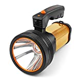 High Power Super Bright LED Searchlight Outdoor Handheld Portable Spotlight Lantern Rechargeable Flashlight USB Long Shots Lamp (Gold)