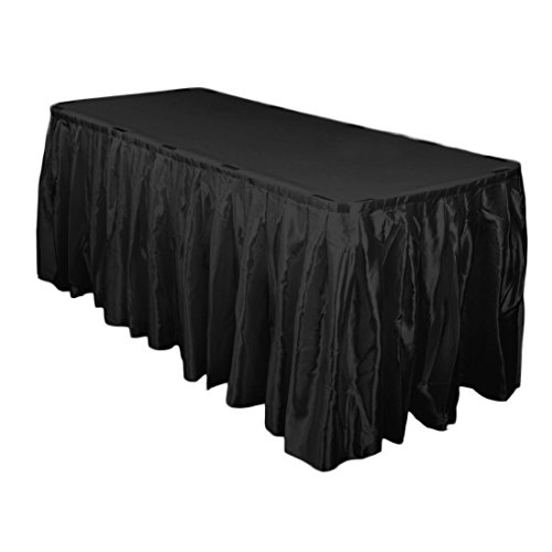 (LinenTablecloth 21 ft. Accordion Pleat Satin Table Skirt Black )