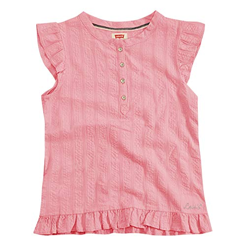 (Levi's Girls' Little Cap Sleeve Henley Top, Peony 6)
