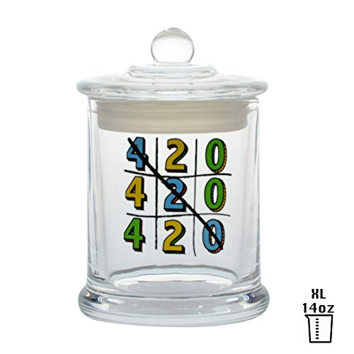 Vapors & Things Clear Glass Odorless Medical Herb Jar Stash Container (XL – 14oz, TIC-TAC-TOE-420)