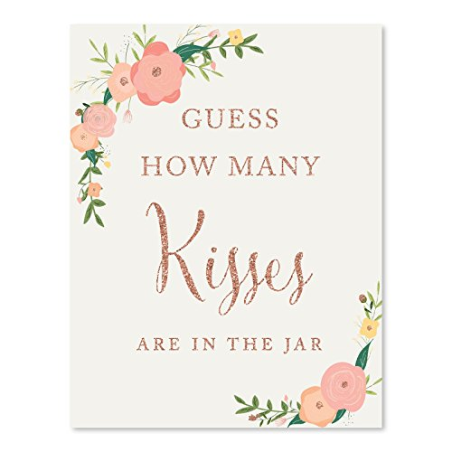 Andaz Press Wedding Party Signs, Faux Rose Gold Glitter with Florals, 8.5x11-inch, Guess How Many Kisses Are in the Jar, 1-Pack, Colored Decorations