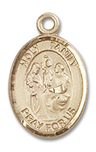 14 Karat Gold Holy Family Medal Petite Charm Pendant, 1/2 -