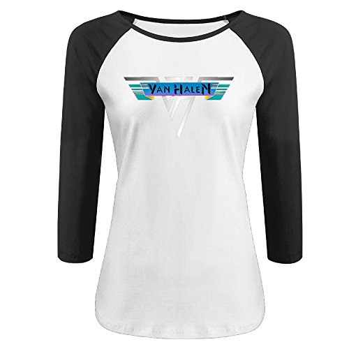 Womens Van Halen - 1978 Vintage Logo Three-Quarter Sleeve Vintage Jerseys Tee Shirts -