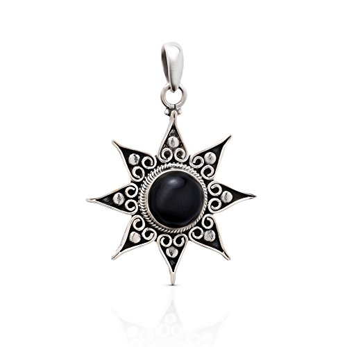 925 Sterling Silver Black Onyx Ethnic Sun Pendant