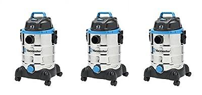 Vacmaster 6 Gallon, 3 Peak HP, Stainless Steel Wet/Dry Vacuum, VQ607SFD (3-(Pack))