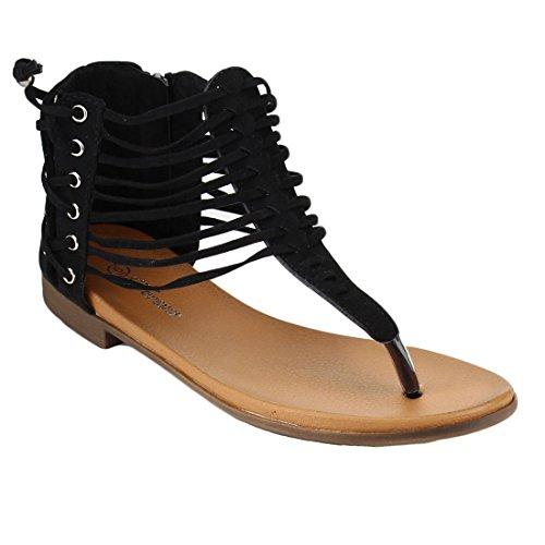 dceee965af651 FOREVER FQ56 Women s Tassel Fringe Side Zipper Thong Gladiator Flat Heel  Sandals