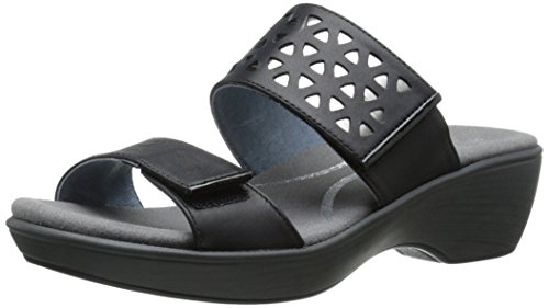 Naot Women's Moreto Wedge Sandal, Jet Black/Glass Silver/Black Patent, 39 EU/7.5-8 M US by NAOT