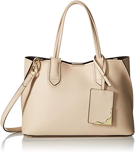(Calvin Klein Jacky Micro Pebble Leather Slouchy East/West Tote,  Sand, One Size)