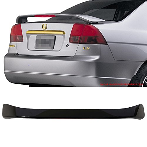 Pre-Painted Trunk Spoiler Fits 2001-2005 Honda Civic | OE Style Painted #B92P Nighthawk Black Pearl ABS Car Exterior With Led 3rd Brake Light Rear Wing Tail Other Color Available By IKON MOTORSPORTS