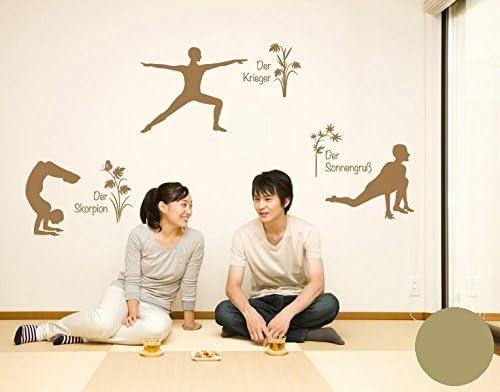 Klebefieber Wandtattoo Yoga Figuren Set 1 B X H 100cm X 169cm Farbe Gold Amazon De Kuche Haushalt