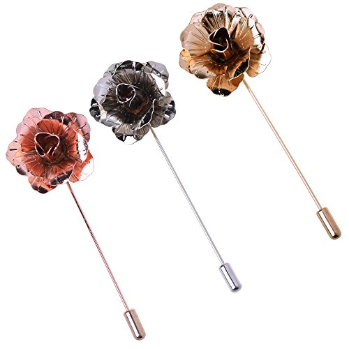 COSMOS Pack of 3 Men's Suit Metal Rose Lapel Flower Pin, Assorted Colors ()