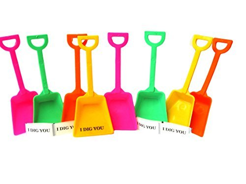 (Small Toy Plastic Shovels Pink Lime Orange & Yellow, 24 Pack, 7 Inches Tall, 24 I Dig You Stickers)