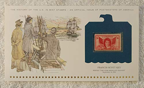 (Francis Scott Key - Writes 'The Star-Spangled Banner' - Postage Stamp (1948) & Art Panel - History of the United States: an official issue of Postmasters of America - Limited Edition, 1979 - War of 1812, Fort McHenry, National Anthem)