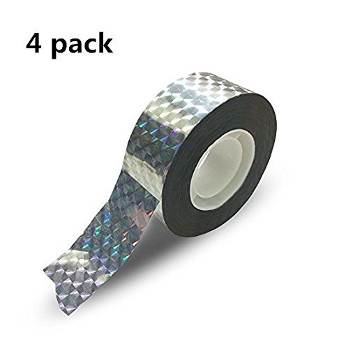 Wang-DataBird Repellent Scare Tape - Shiny Bird Deterrent tape to safely Scare Birds Away - (1 inch X 1067ft total) Double Sided Holographic Flash Deterrent & Light Reflector (4Pack)