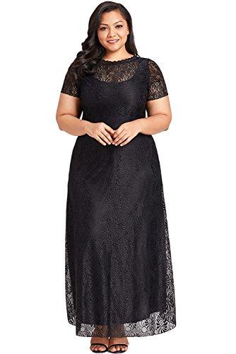 Waist Cocktail Women's Dress Black Neck Spritech Peplum Club Party Maxi Pocket Spilt Short Women Round High Floral with Plus Sleeve Lace Size Causal Gown Elegant UqxdYS