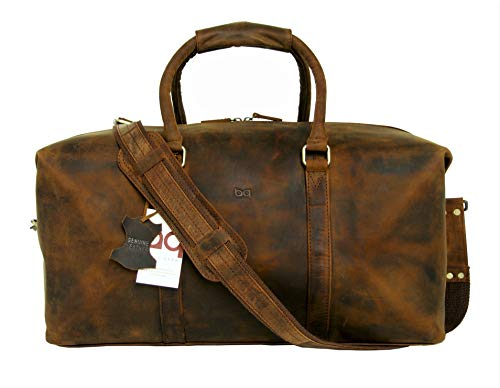 Basic Gear Full Grain Leather Duffle Bag, Weekend Travel Luggage, Carry-on Leather Bag, Gym Duffel