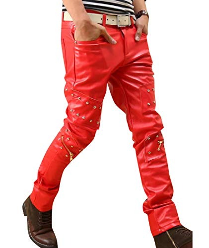 (Vska Men's Skinny Fleece Lined Rivet Rocker Punk Leather Pants Red 26)