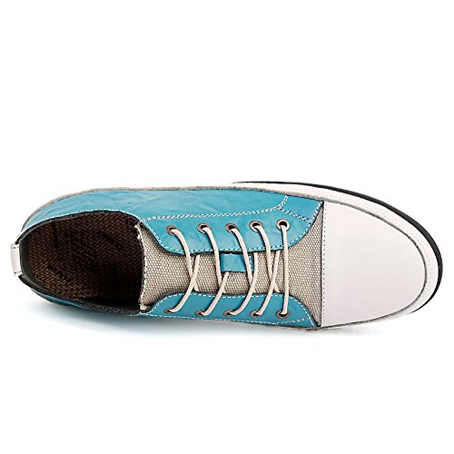 Abby 8001 Leader Mens Lace Up Scarpe Da Skateboard Casual Per Il Tempo Libero Comode Bussiness Guida In Pelle Blu